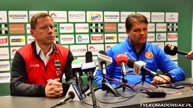 Trenerzy Banasik i Mroczkowski po meczu Radomiak - Widzew