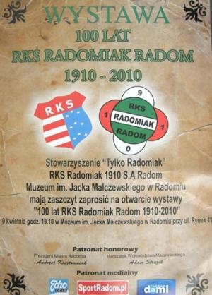"""Wystawa """"100 lat RKS Radomiak Radom 1910-2010"""""""
