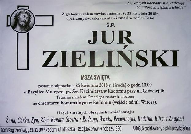 W środę pogrzeb Jura Zielińskiego